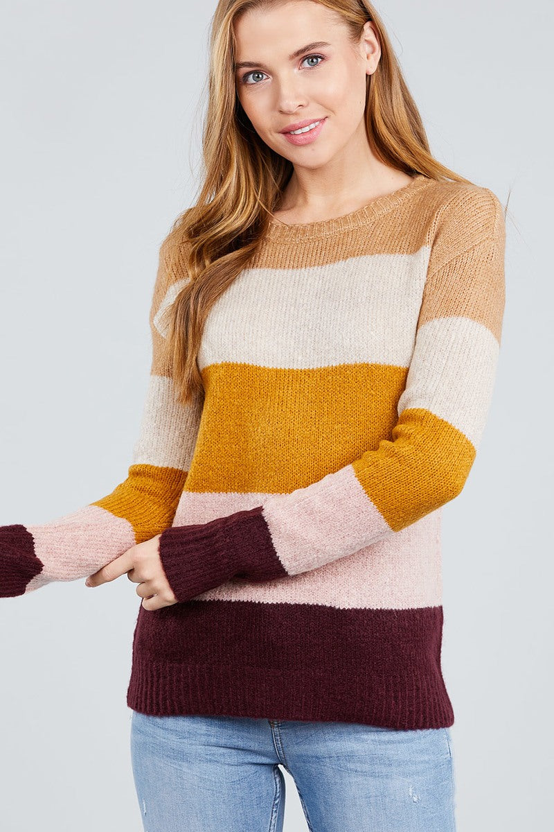 Long Sleeve Round Neck Color Block Sweater
