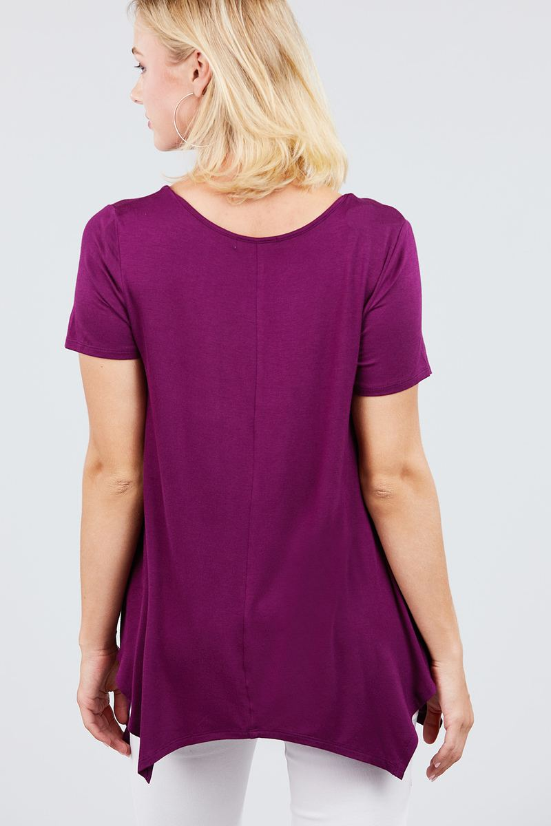 Short Sleeve Scoop Neck W/button Shirring Detail Rayon Spandex Top