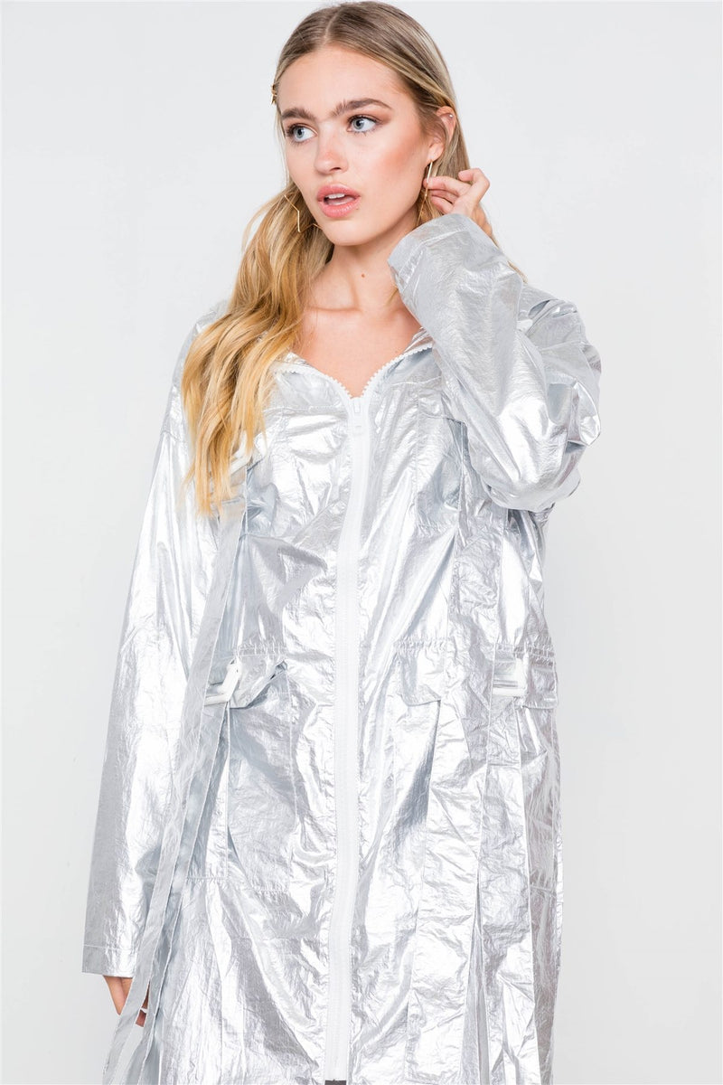 Metallic Lightweight Zip-up Jacket