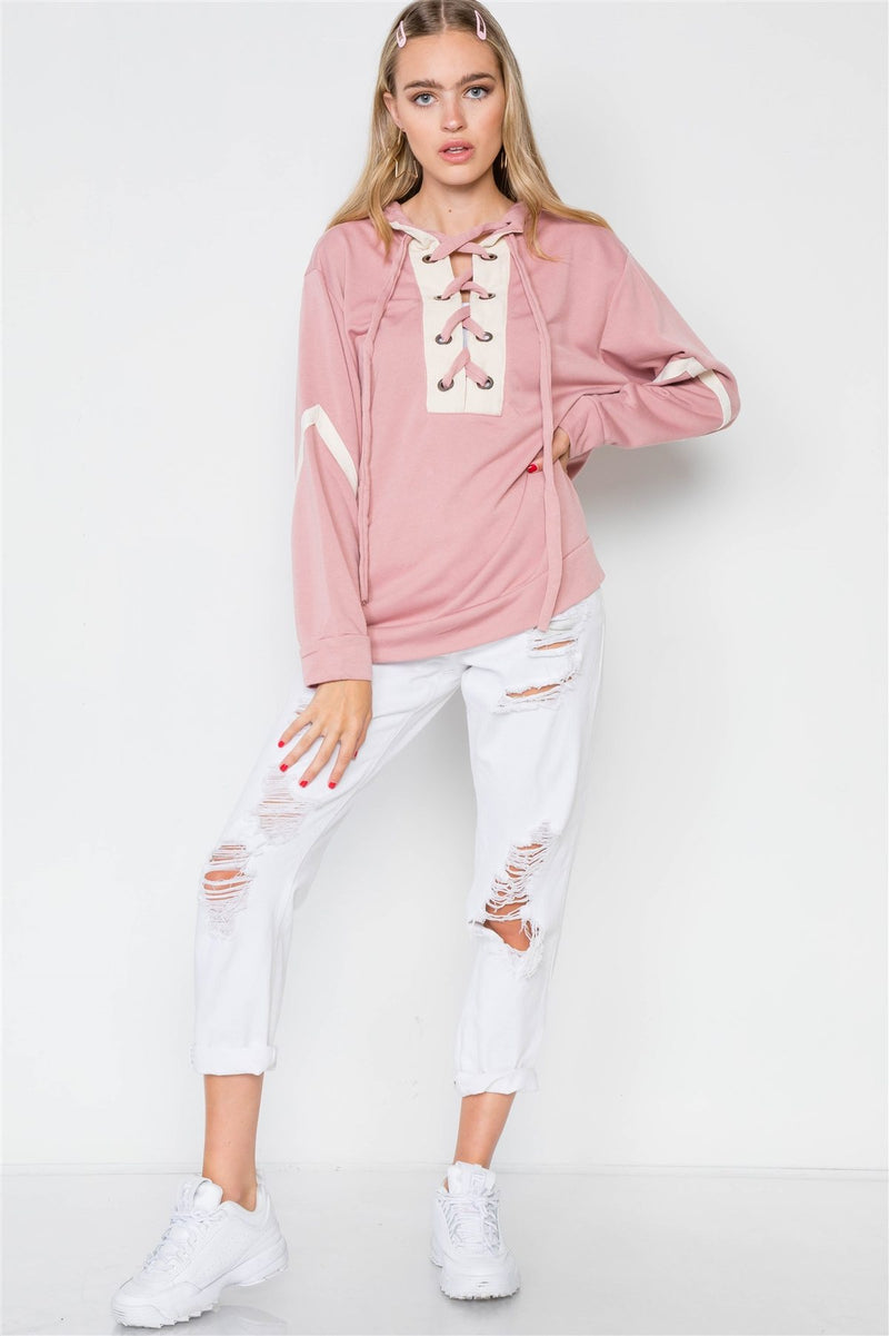 Knit Hooded Lace-up Sweater