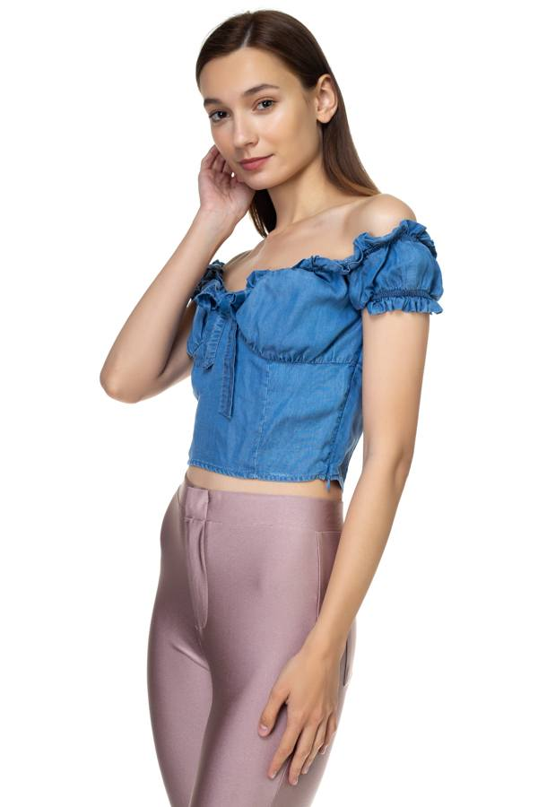 Front Ribbon Tie Off Shoulder Crop Top