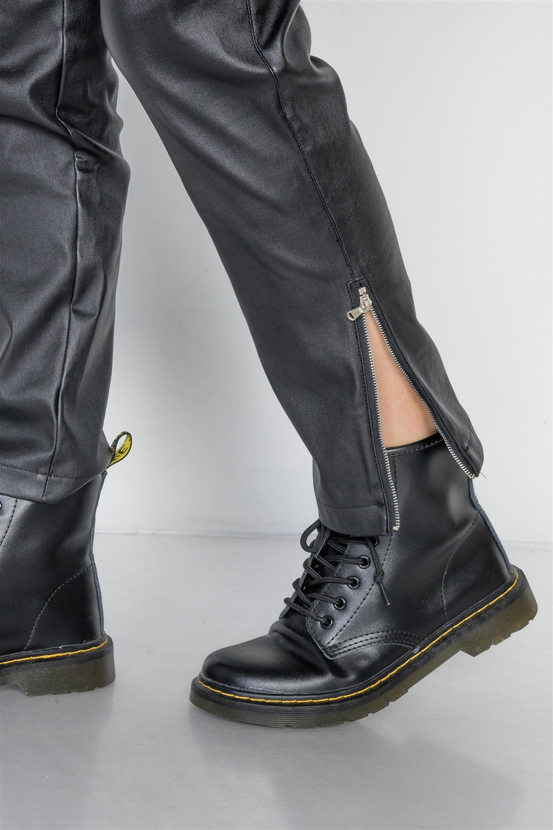 Black Vegan Leather Stretchy Overall Pants