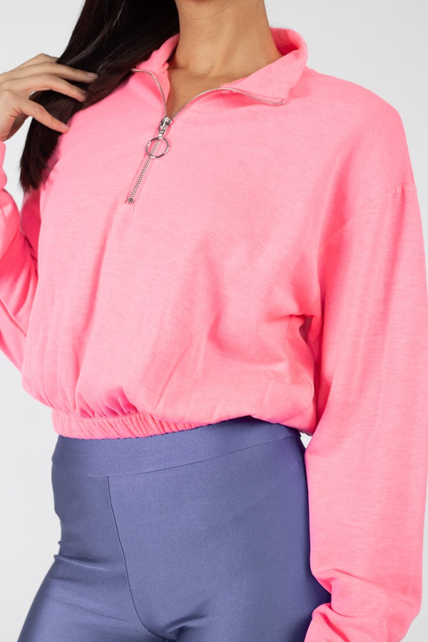 Cropped Half Zip Pullover