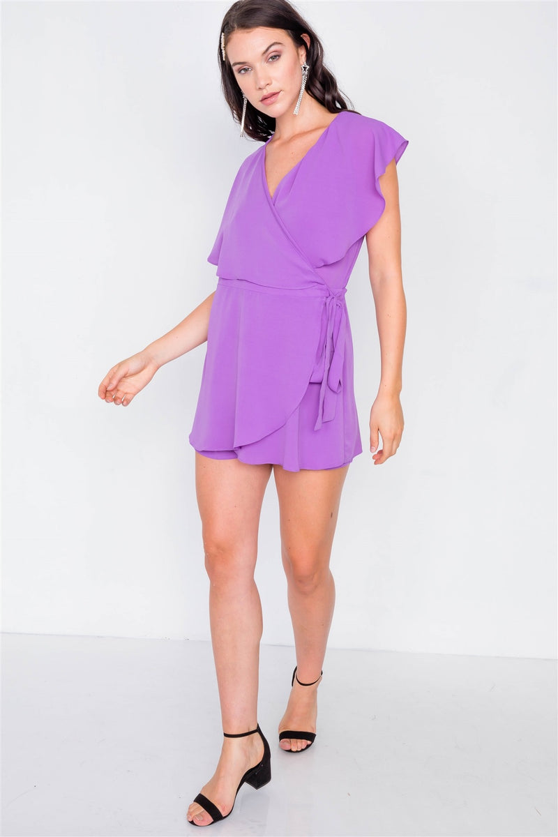 Mock Wrap Butterfly Sleeve Romper