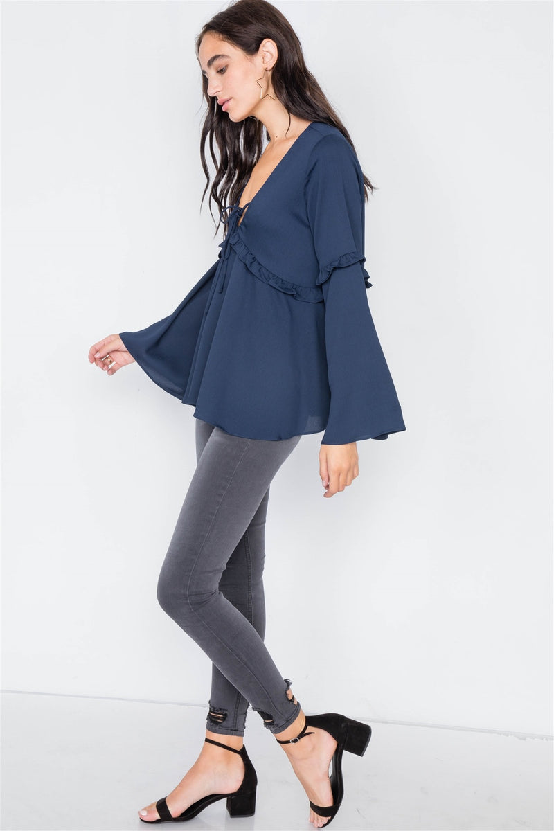 Flounce Belle Sleeve Lace-up V-neck Blouse