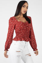 Floral Sweetheart Ruffle Top