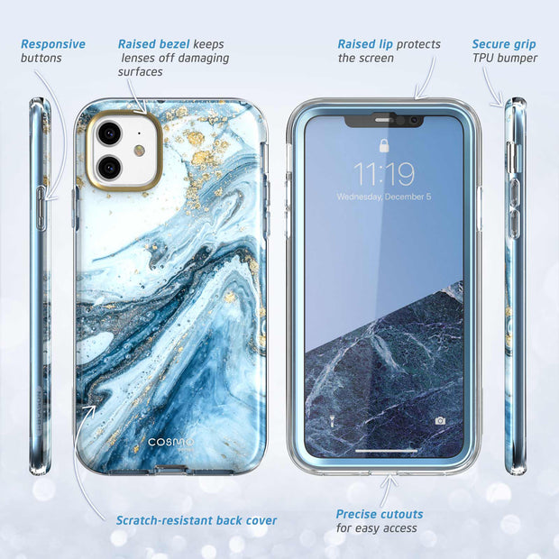 iPhone 11 Cosmo Case-Marble Blue