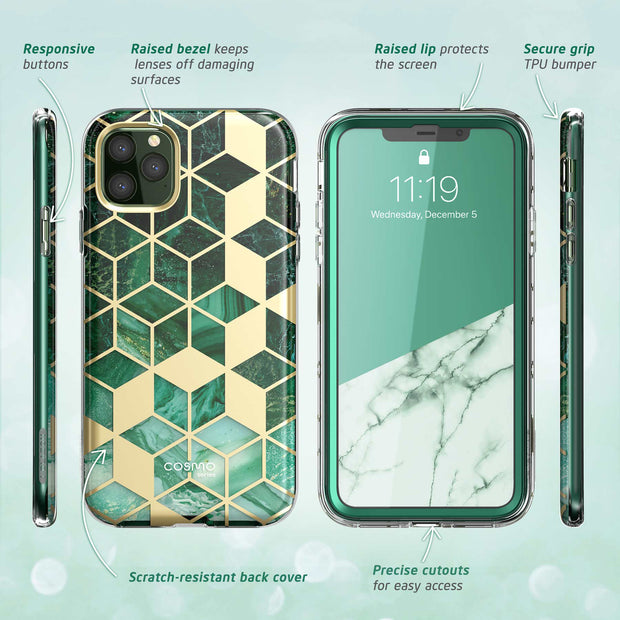 iPhone 11 Pro Max Cosmo Case-Marble Green