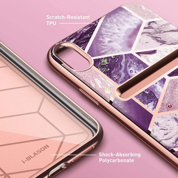 iPhone XR Cosmo Wallet Case-Marble Purple
