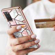 Galaxy S20 Plus Cosmo Wallet Case-Marble Pink