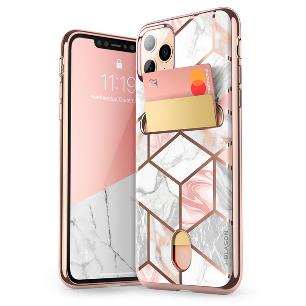 iPhone 11 Pro Cosmo Wallet Case-Marble Pink