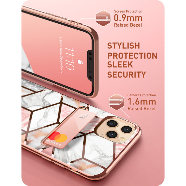 iPhone 11 Pro Max Cosmo Wallet Case-Marble Pink