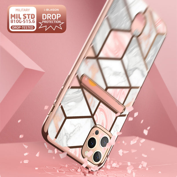iPhone 12 Pro Max Cosmo Wallet Case-Marble Pink