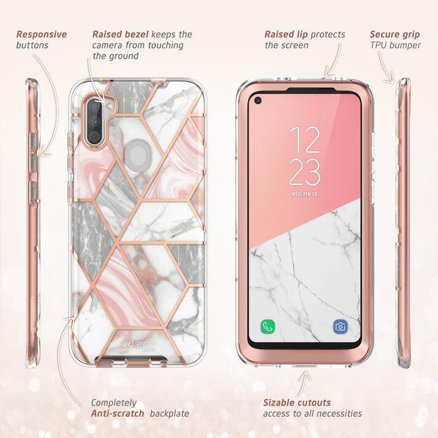 Galaxy A11 Cosmo Case-Marble Pink