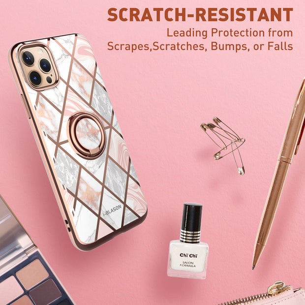 iPhone 12 Pro Cosmo Snap Case-Marble Pink