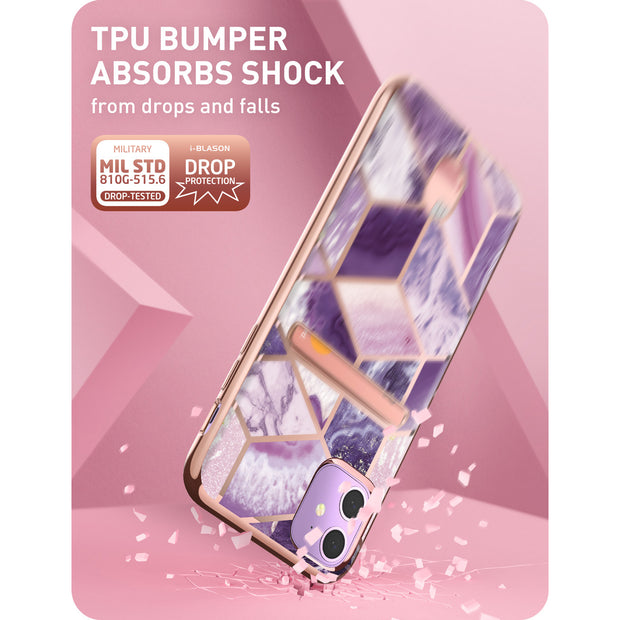 iPhone 11 Cosmo Wallet Case-Marble Purple