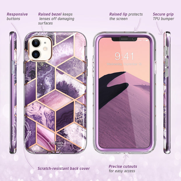 iPhone 12 Cosmo Case-Marble Purple