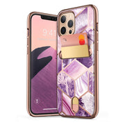 iPhone 12 Pro Cosmo Wallet Case-Marble Purple