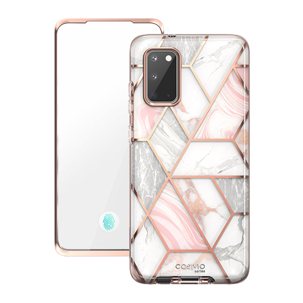 Galaxy S20 Cosmo Case (with Screen Protector)-Marble Pink