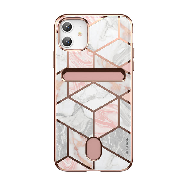 iPhone 11 Cosmo Wallet Case-Marble Pink