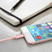 Charge and Sync 6 Ft Lightning Cable for Apple Devices-Rose Gold