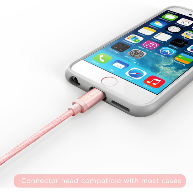 Charge and Sync 3 Ft Lightning Cable for Apple Devices-Rose Gold
