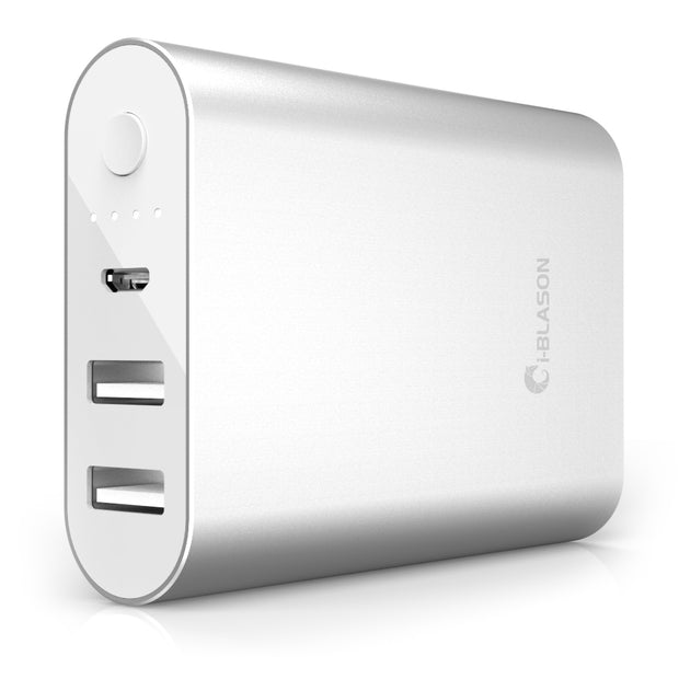 Aero 7800 mAh Dual Port Compact External Battery Portable USB Powerbank-Silver