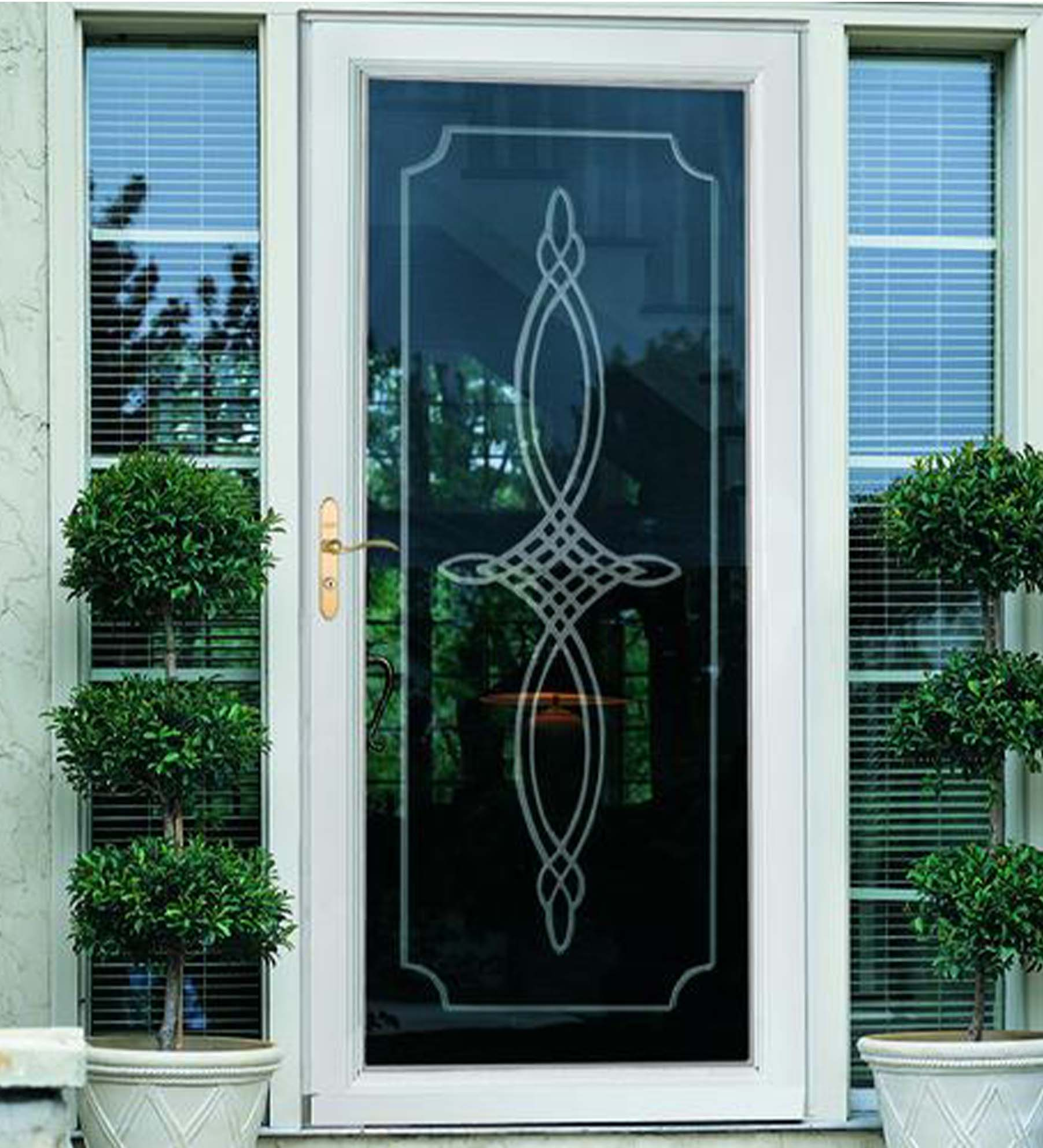 INSTALLED Larson Elegant Bevel Glass Design Storm Door w/ Hardware