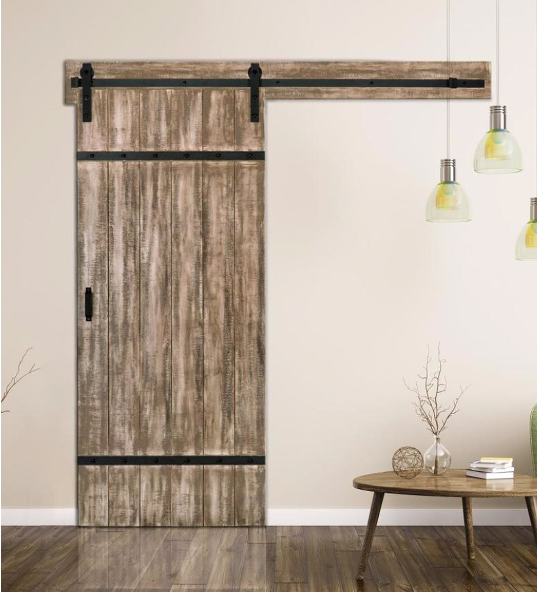 INSTALLED ReliaBilt Sandstone Stain Decor Stained Wood Barn Door w/Hardware STARTING $862