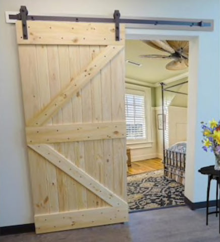 INSTALLED Creative Entryways Sliding Barn Door Unfinished K-Frame Wood Knotty Pine Barn Door Hardware Included