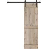 INSTALLED Creative Entryways Sliding Barn Door Weathered Gray Stained 2-Panel Wood Pine Barn Door Hardware Included