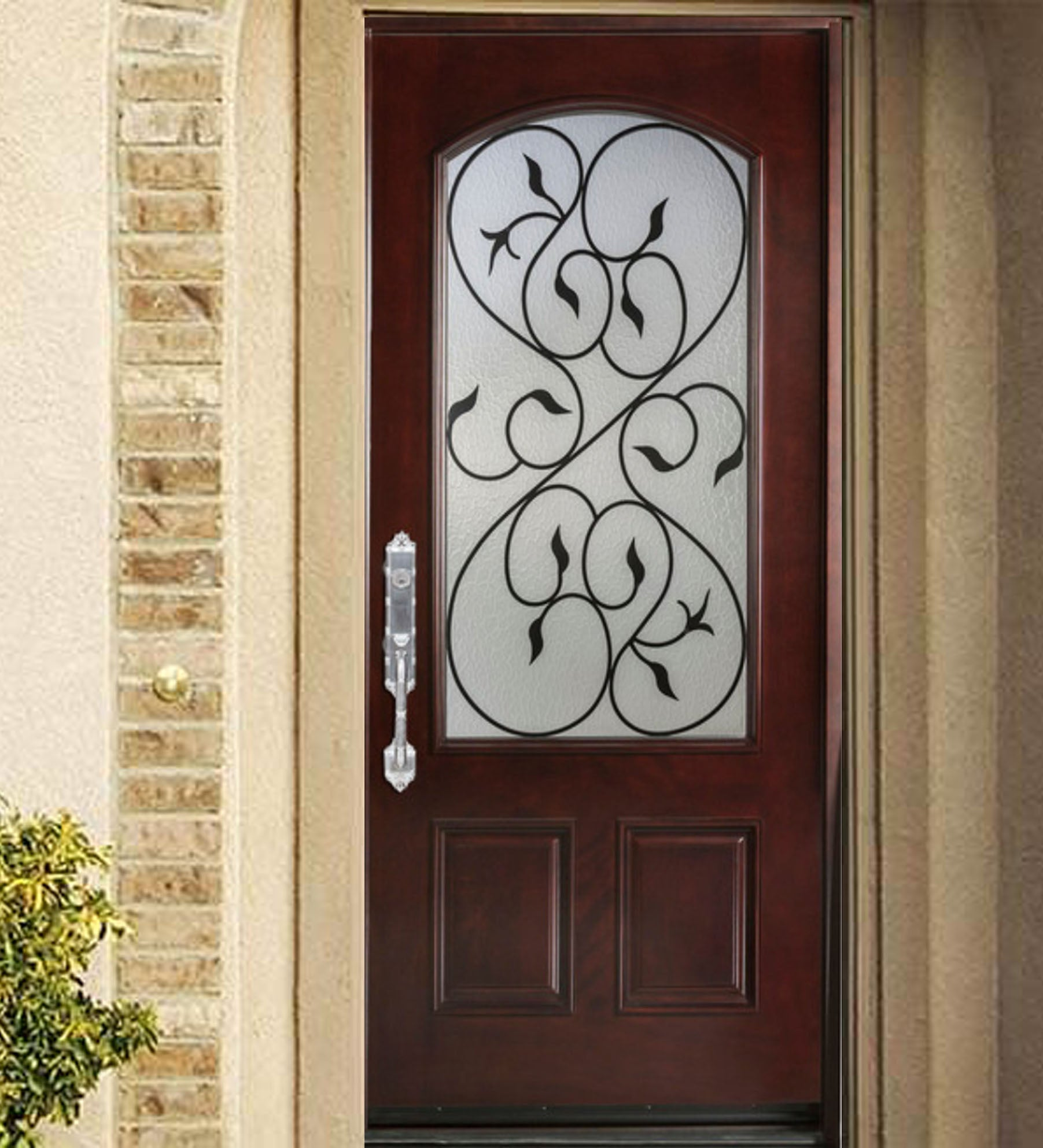 INSTALLED Crystal Single Fiberglass Front Entry Door FM200I-SG     STARTING $1973