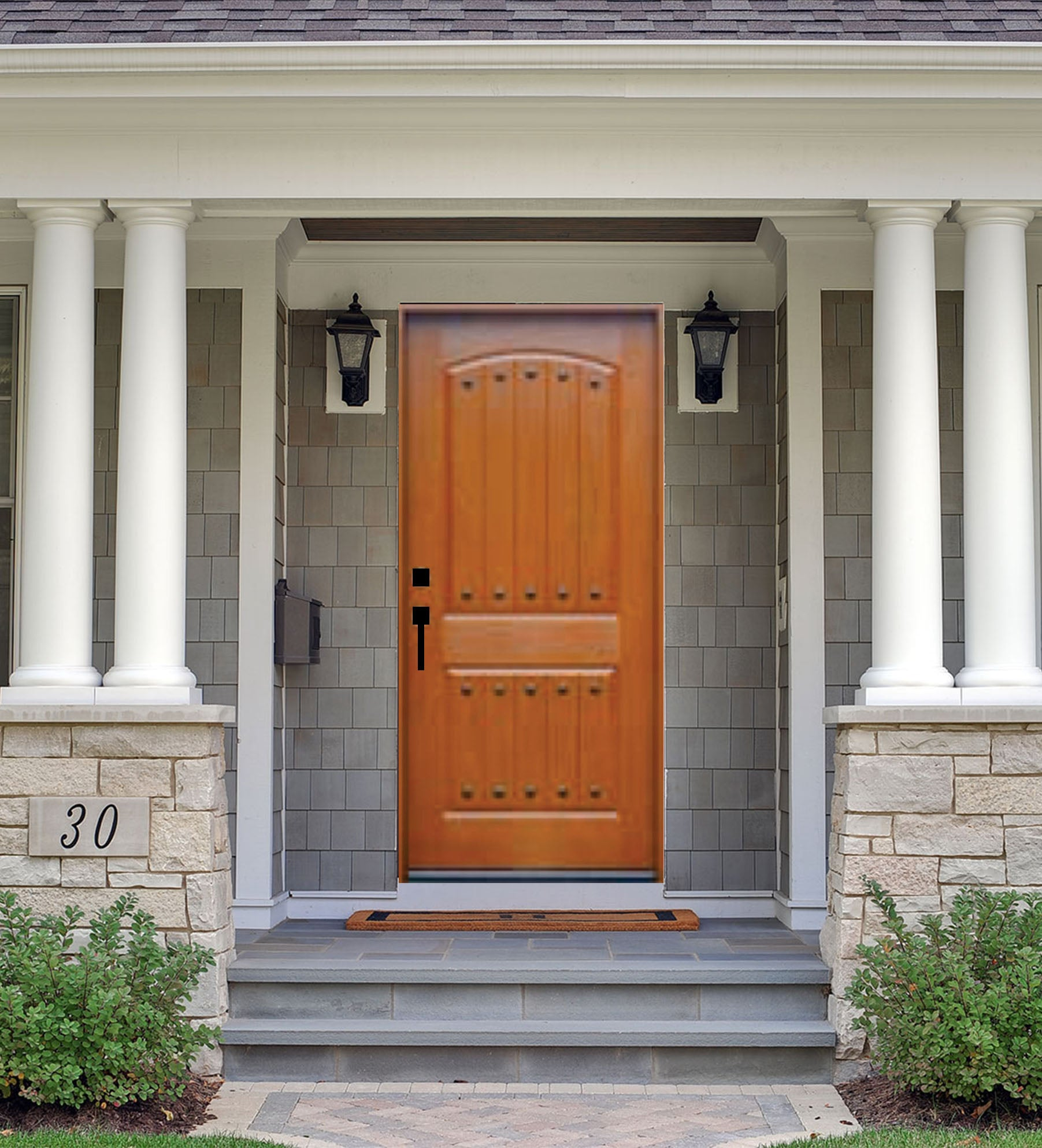 INSTALLED Crystal Single Fiberglass Front Entry Door FM200P-SG      STARTING $1870