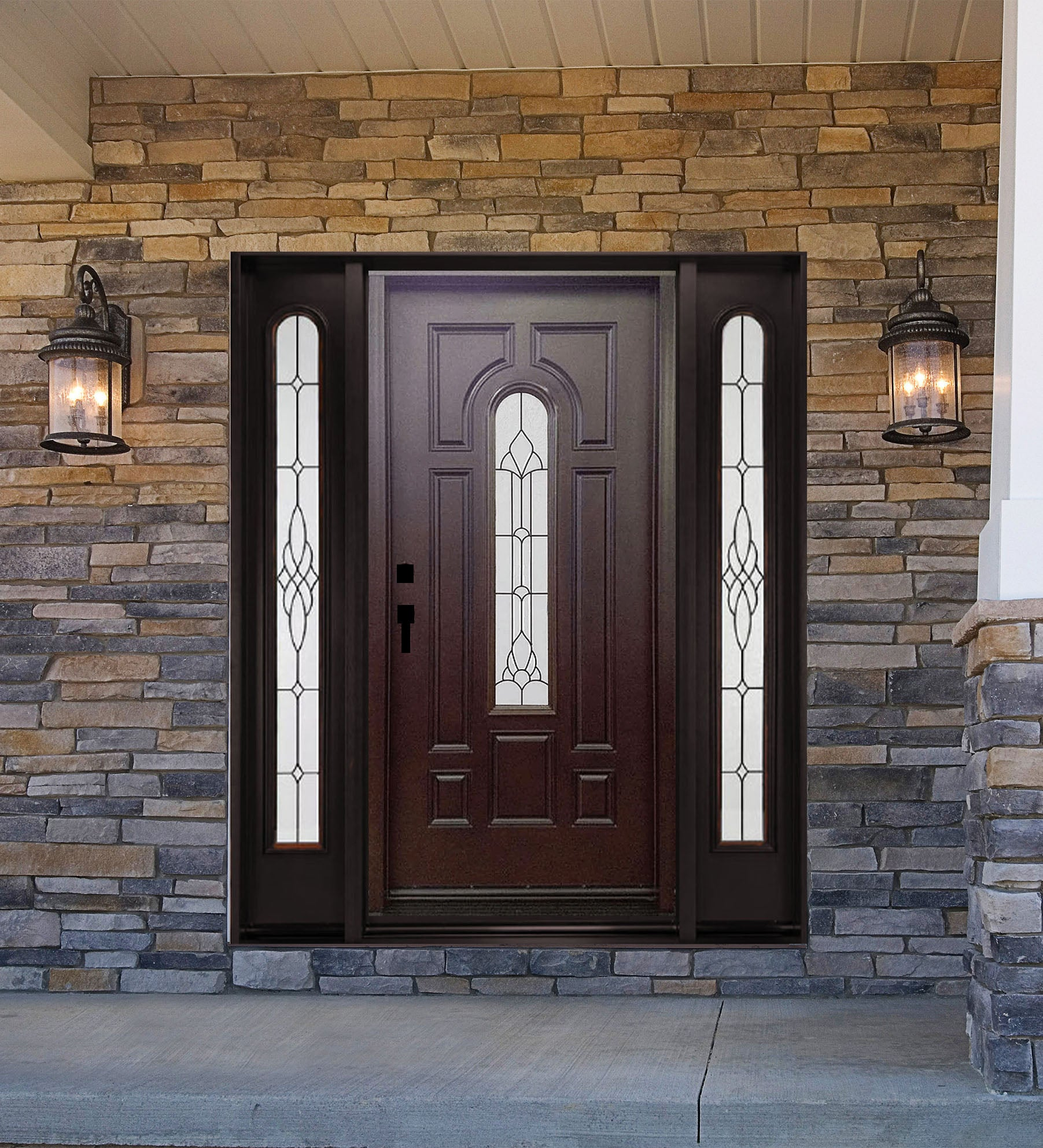 INSTALLED Crystal Single Fiberglass Front Entry Door W/Fixed Sidelites FM280D-SL STARTING $3.310.99