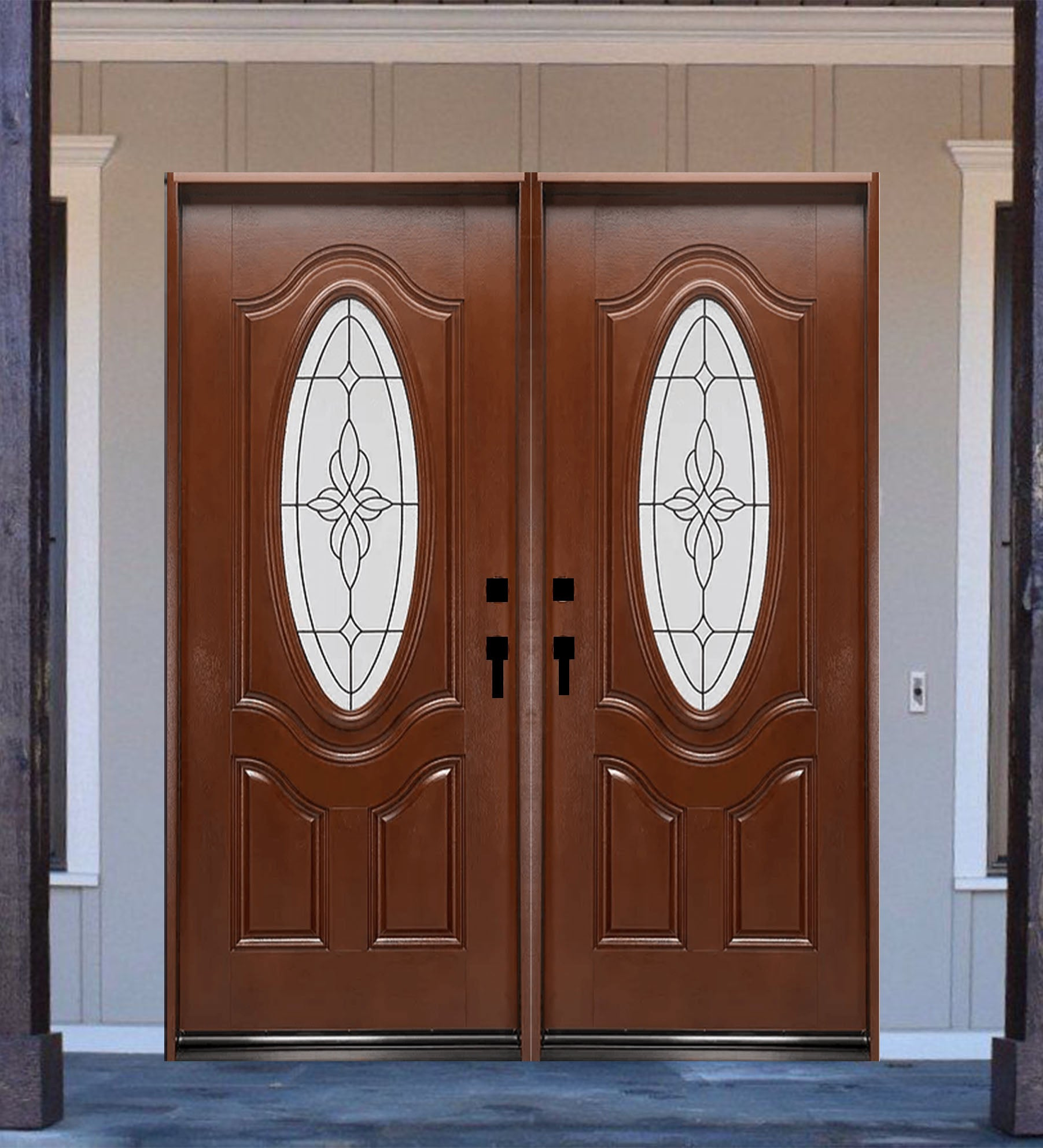 INSTALLED Crystal Double Fiberglass Front Entry Door FM800A-DB STARTING $3502.99