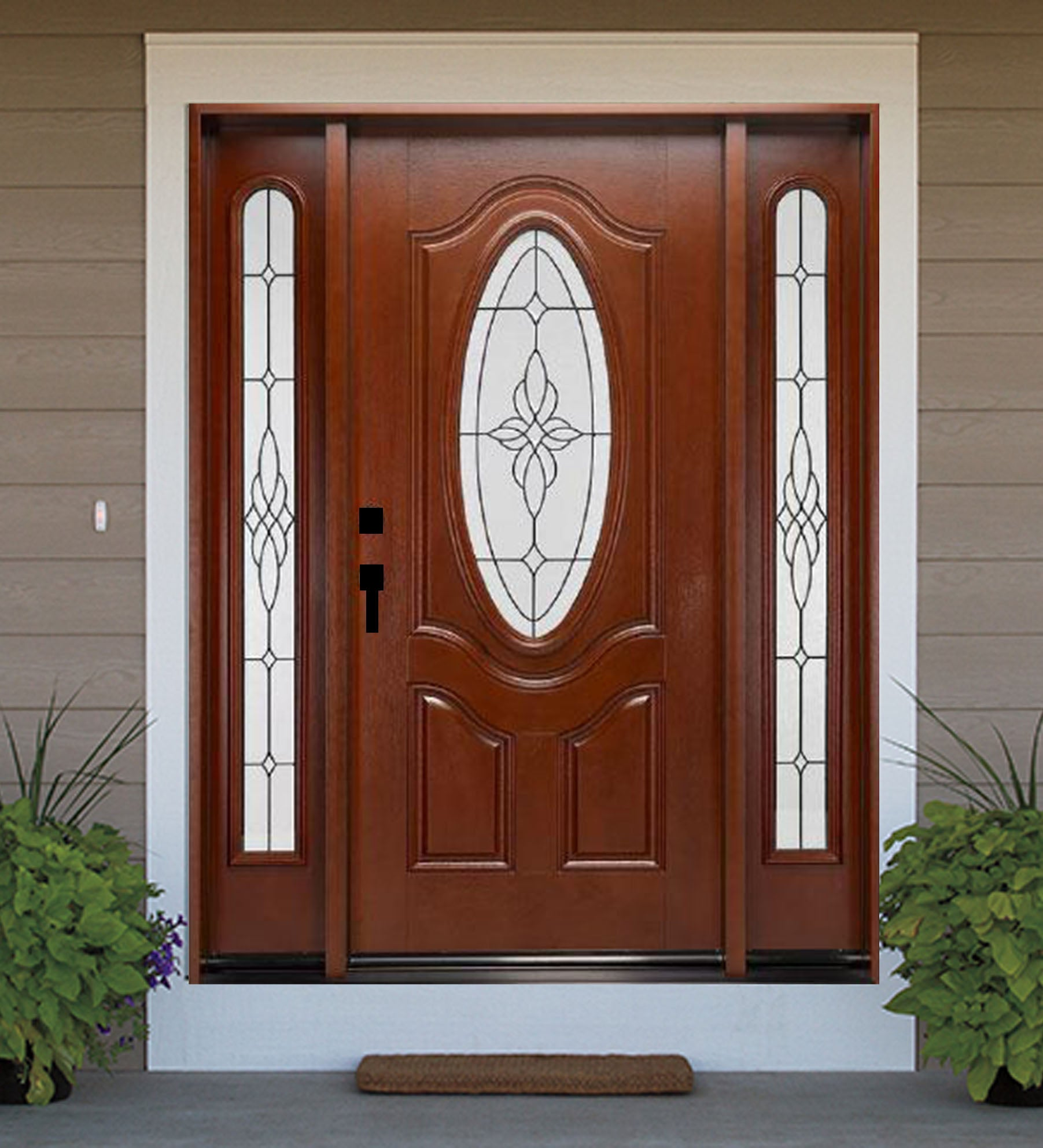 INSTALLED Crystal Single Fiberglass Front Entry Door W/ Fixed Sidelites FM800A-SL STARTING $3,310.99