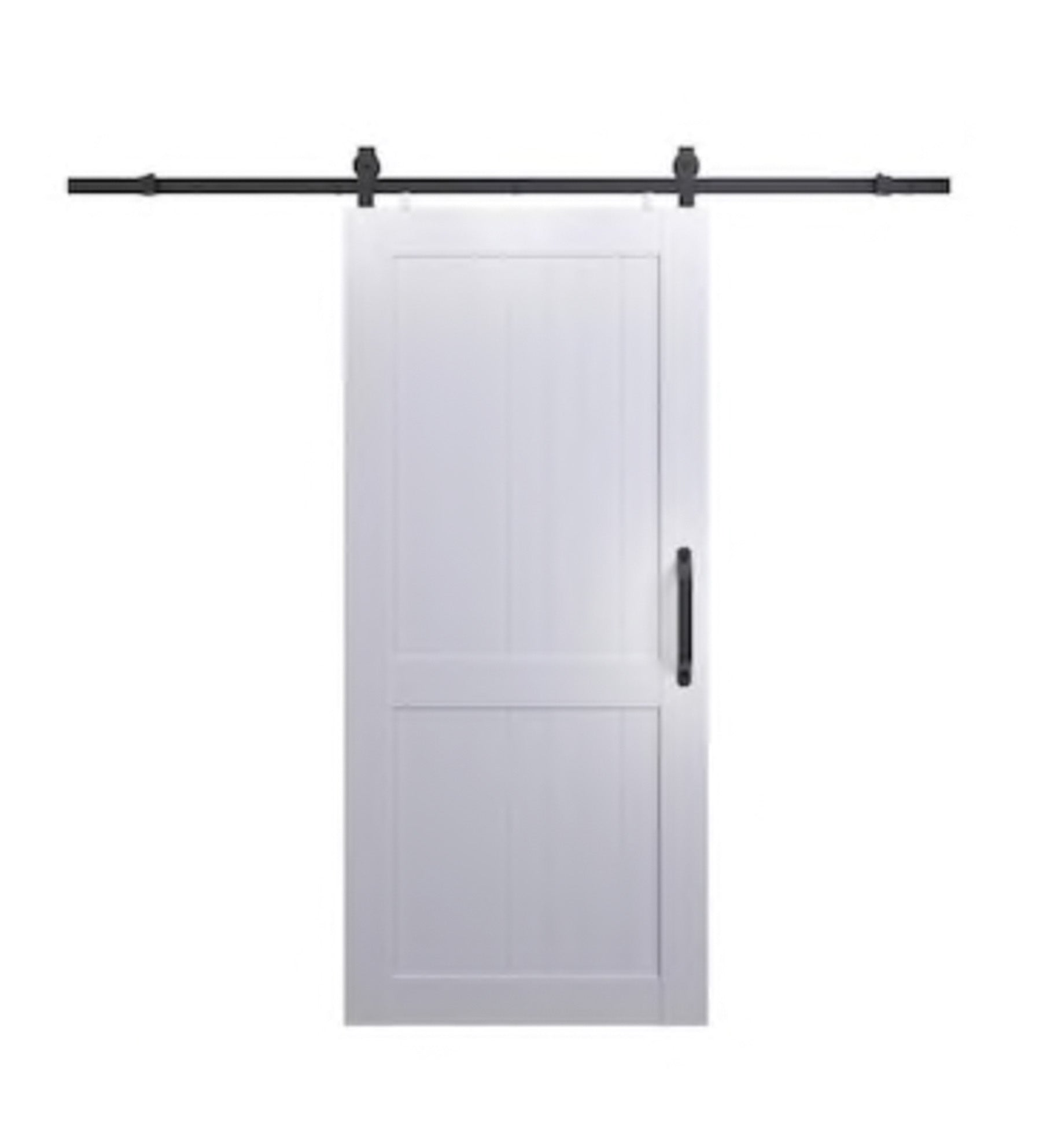 INSTALLED Pinecroft Millbrook White Pre-finished 2-Panel Pvc Barn Door Hardware Included