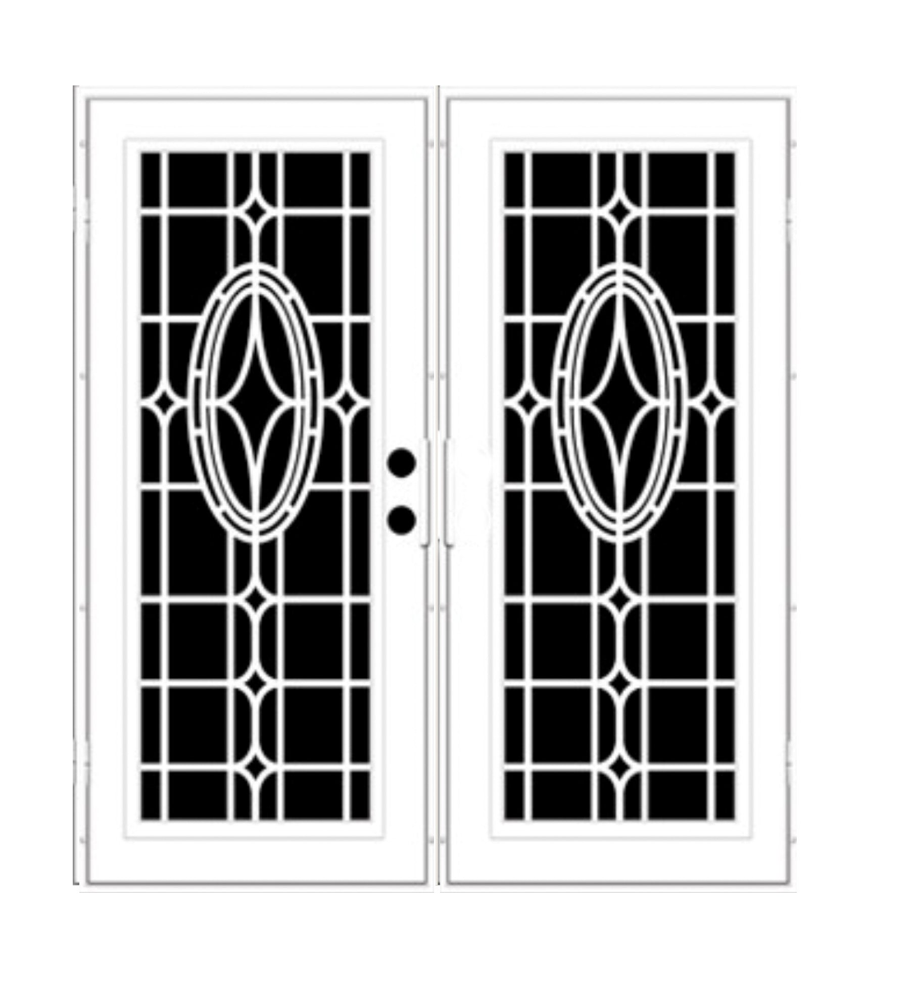 INSTALLED Titan Premium Aluminum Security Screen Double Door Modern Cross