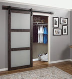 INSTALLED ReliaBilt Iron Age Prefinished 3-Panel MDF Barn Door Hardware Included