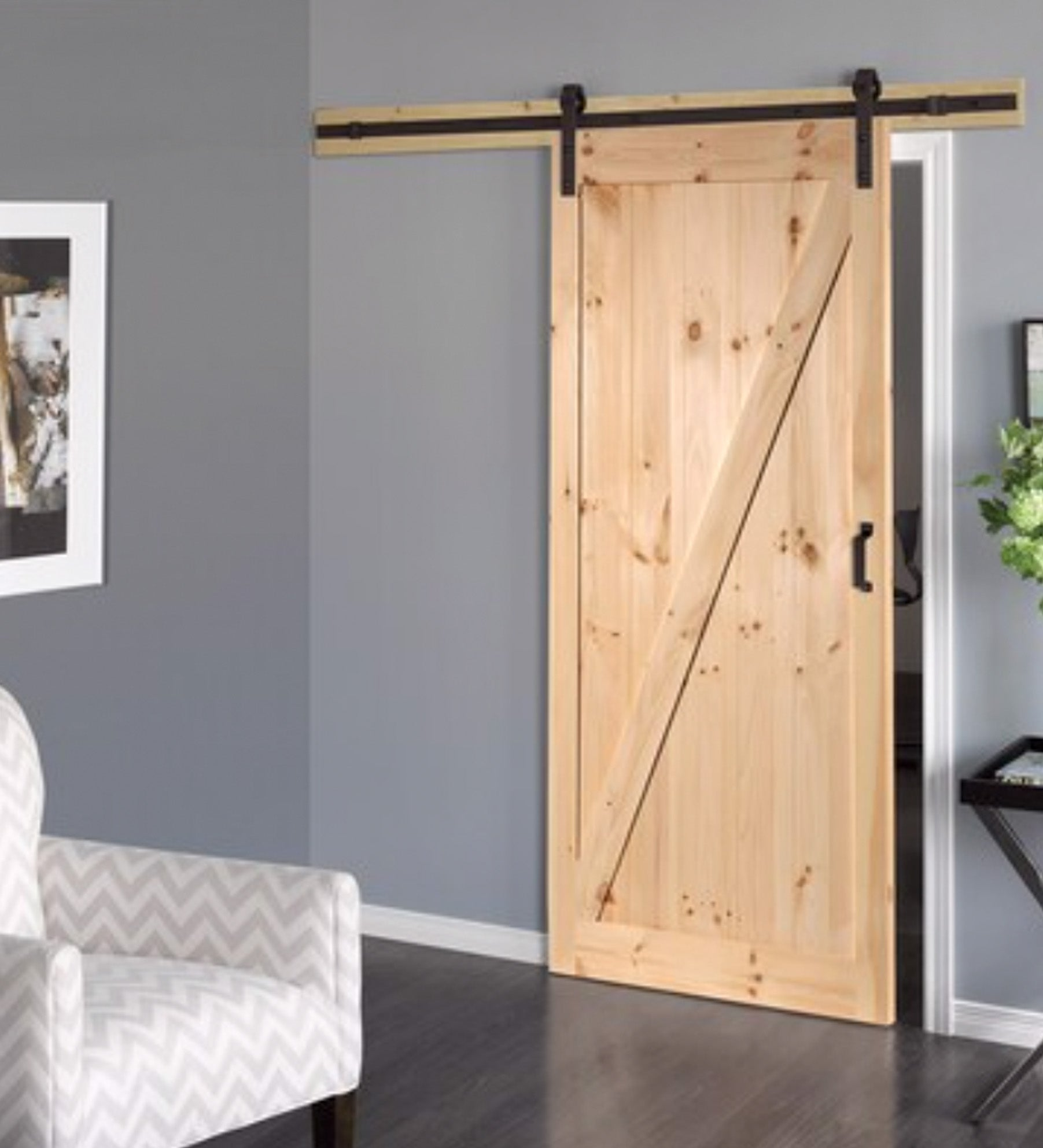 INSTALLED ReliaBilt Pine Unfinished Z-Frame Wood Pine Barn Door Hardware Included