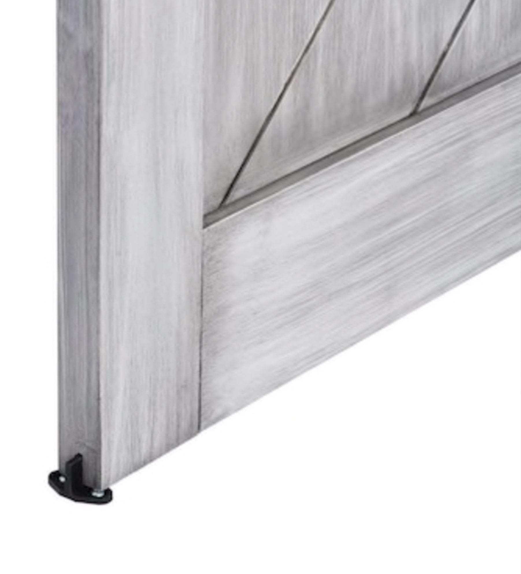 INSTALLED ReliaBilt Satin Nickel Gray Stain Prefinished Herringbone Wood Barn Door Hardware Included