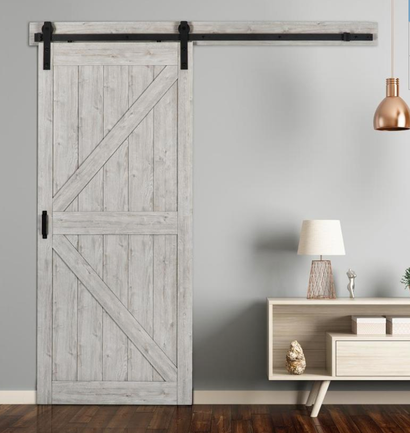INSTALLED ReliaBilt Sandstone Prefinished K-Frame MDF Barn Door W/ Hardware STARTING $662