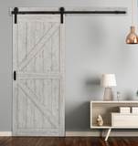 INSTALLED ReliaBilt Sandstone Prefinished K-Frame Mdf Barn Door Hardware Included