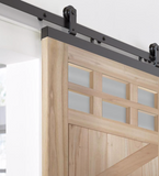 INSTALLED Jeld-Wen DesignGlide Unfinished K-Frame Wood White Cedar Barn Door Hardware Included