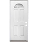 INSTALLED ReliaBilt Sunburst 1/4 Lite Clear Glass PrimedSteel Prehung Entry Door