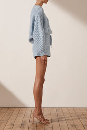 Shona Joy Cocoon Sleeve Cable Jumper in Blue