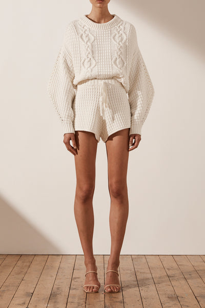 Shona Joy Cocoon Sleve Cable Jumper Rice