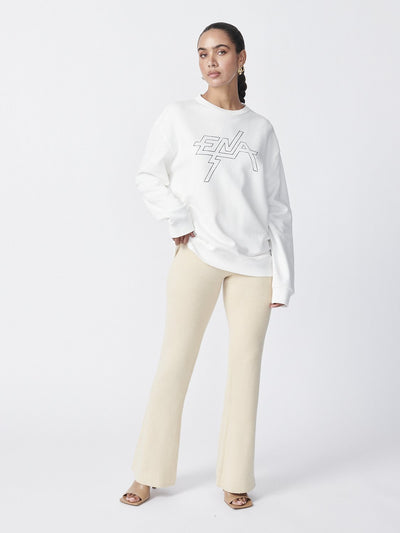 Ena Pelly Block Logo Sweatshirt White