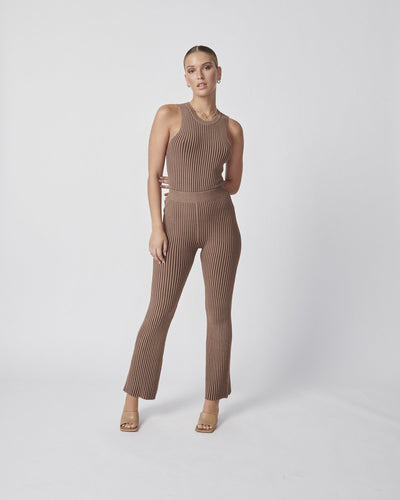Ena Pelly Contrast Knit Pant - Tonal Tan