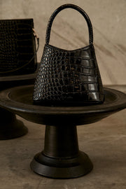 Brie Leon Mini Chloe Bag Black Oily Croc